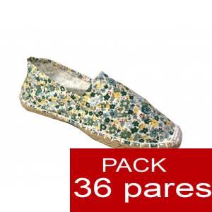 Mujer Estampadas - Alpargata estampada FLORES verdes Caja 36 pares (Últimas Unidades)