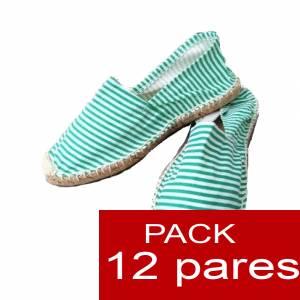 Mujer Estampadas - Alpargatas estampadas RAYAS VERDES Caja 12 pares (Últimas Unidades)