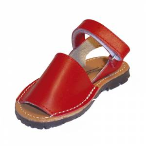 Roja - Avarca - Menorquina piel niño Roja Talla 27